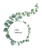 Watercolor vector card template design with eucalyptus leaves and branches. - 221076918