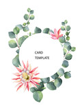 Watercolor vector card template design with eucalyptus leaves and flowers. - 221076948