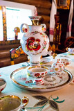 decorated russian traditional samovar, russian national tea ceremony - 221078777