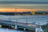 St. Petersburg from the roof, the Palace Bridge and the Neva River - 221082321