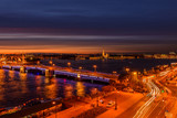 St. Petersburg from the roof, the Palace Bridge and the Neva River - 221082592