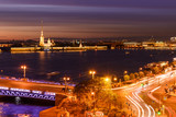 St. Petersburg from the roof, the Palace Bridge and the Neva River - 221082913