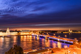St. Petersburg from the roof, the Palace Bridge and the Neva River - 221082963