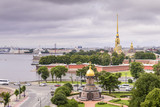 View of St. Petersburg from the roofs, Trinity Bridge over the Neva and Peter and Paul Fortress - 221083351