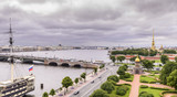 View of St. Petersburg from the roofs, Trinity Bridge over the Neva and Peter and Paul Fortress - 221083515