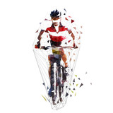 Mountain cycling, low polygonal  mtb biker, isolated geometric vector illustration. Front view