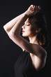 lady in black, sensuality picture, black background