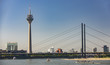 Leinwanddruck Bild - View from Dusseldorf with TV Tower and The Bridge