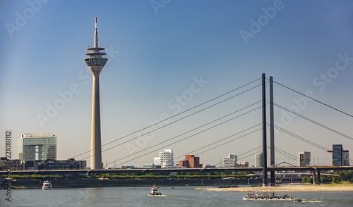 Leinwanddruck Bild View from Dusseldorf with TV Tower and The Bridge
