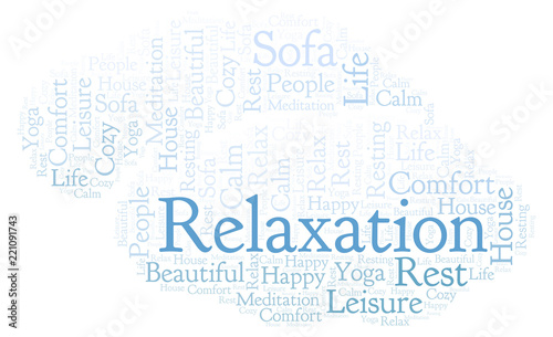 Relaxation word cloud. - 221091743