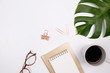 Leinwanddruck Bild - Mock up workspace with tropical palm leaf,  glasses, notebook and coffee cup on white background. Flat lay, top view. stylish female concept.