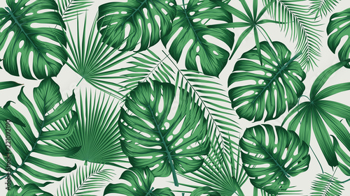 Fototapety, obrazy : Trendy seamless tropical pattern with exotic leaves and plants jungle