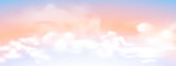 Panorama view of white cloud with twilight sky background. Vector illustration. - 221093959