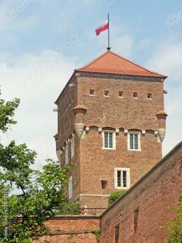 Foto Murales Wawel Royal Castle, Krakow, Poland. Thieves Tower with the flag of Poland on the top.
