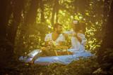 Breakfast in nature . Couple enjoy in love. - 221106538