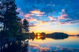 Summer night sunset from Sotkamo, Finland. - 221107554