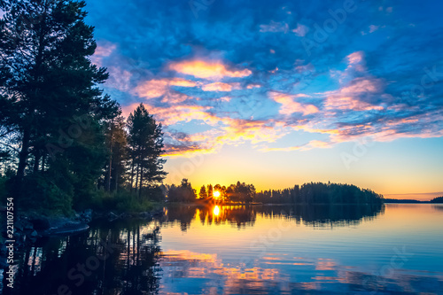 Summer night sunset from Sotkamo, Finland.