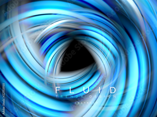 Fluid smooth wave abstract background, flowing glowing color motion concept, trendy abstract layout template for business or technology presentation or web brochure cover, wallpaper