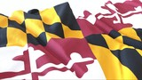 3d render, Realistic Wavy Flag of Maryland .