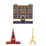 Sights of different countries cartoon icons in set collection for design. Famous building vector symbol stock web illustration. - 221122908