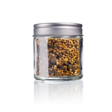 curry spice mix in a glas with metal lid, isolated on white - 221124790