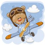 Cute Teddy Bear is flying on a plane - 221128326