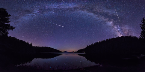 Milky Way and the Perseids / Long time exposure night landscape with Milky Way Galaxy during the Perseids flow above the Beglik dam in Rhodopi Mountains, Bulgaria