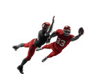 Active two american football player isolated on white background. Fit caucasian men in uniform with ball jumping over studio background in jump or motion. Human emotions and facial expressions concept - 221137718