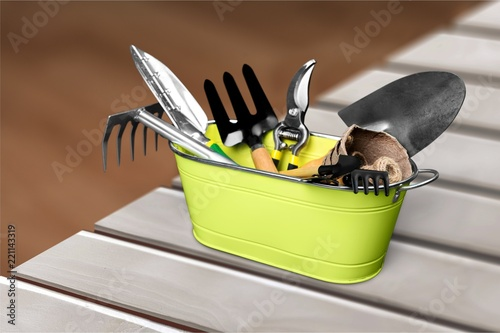 Sticker Group of Gardening tools on background