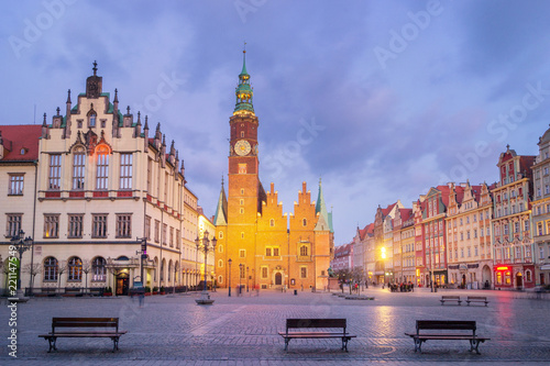 obraz PCV Town Hall of Wroclaw at dusk, Poland