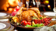 Closeup image of tasty baked chicken on festive table served at living room with fireplace - 221148396