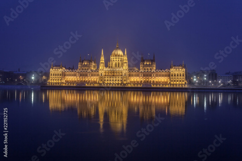 BUDAPEST / HUNGARY - FEBRUARY 04, 2012: Night panorama of the parliment building located in the capitol of the country