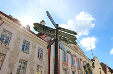 Tourist street signpost in Old Town, Tallinn, Estonia