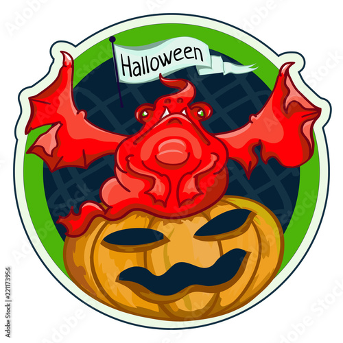 Monster with pumpkin for Halloween-red