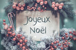 Christmas Garland, Fir Tree Branch, Joyeux Noel Means Merry Christmas