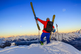 Ski with amazing view of swiss famous mountains in beautiful winter snow Mt Fort. The skituring, backcountry skiing in fresh powder snow. - 221175375