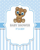 baby shower boy. Cute bear . space for text - 221178509
