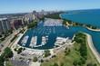 Belmont Harbor aerial Chicago IL - 221183118