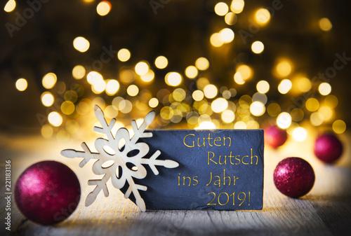 Leinwanddruck Bild Christmas Background, Lights, Guten Rutsch Means Happy New Year 2019