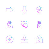 right, down , sheild, heart,  download , unlock , weight , eps icons set vector - 221194932