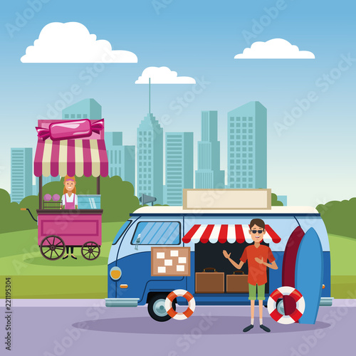 Poster Food booth and shops at city scenery cartoons vector illustration graphic design