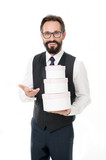 System bonus benefits. Corporate gift for regular customer. Man bearded businessman formal wear holds pile of gift boxes white background. Banking bonus benefits. Celebrate corporate anniversary - 221196540
