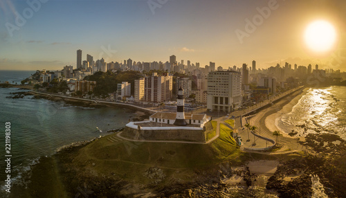 Poster Aerial View of Farol da Barra in Salvador, Bahia, Brazil