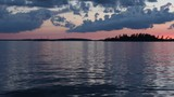 Sunset Looking North To Canada over smooth blue water - 221203197