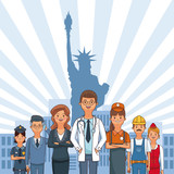 Happy labor day with people professions and jobs cartoons vector illustration graphic design - 221203387