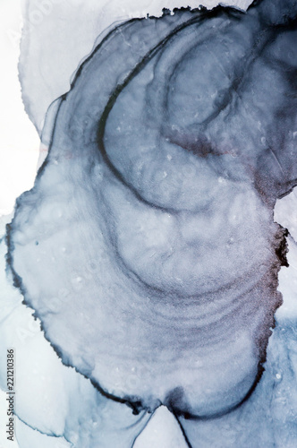 Ink, paint, abstract. Closeup of the painting. Colorful abstract painting background. Highly-textured oil paint. High quality details. Alcohol ink modern abstract painting, modern contemporary art. - 221210386