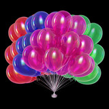 balloons bunch colorful. happy birthday, holiday, party decoration multicolored, celebration symbol red green violet blue colors. 3d illustration, isolated on black - 221223321