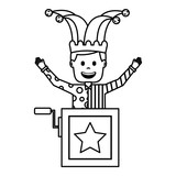funny jack in the box with jester hat raised arms - 221227149