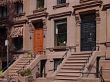 front steps of New York brownstone apartment buildings - 221228907