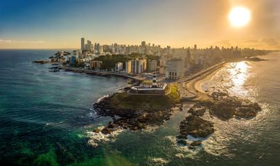 Aerial View of Farol da Barra in Salvador, Bahia, Brazil © Exapixel